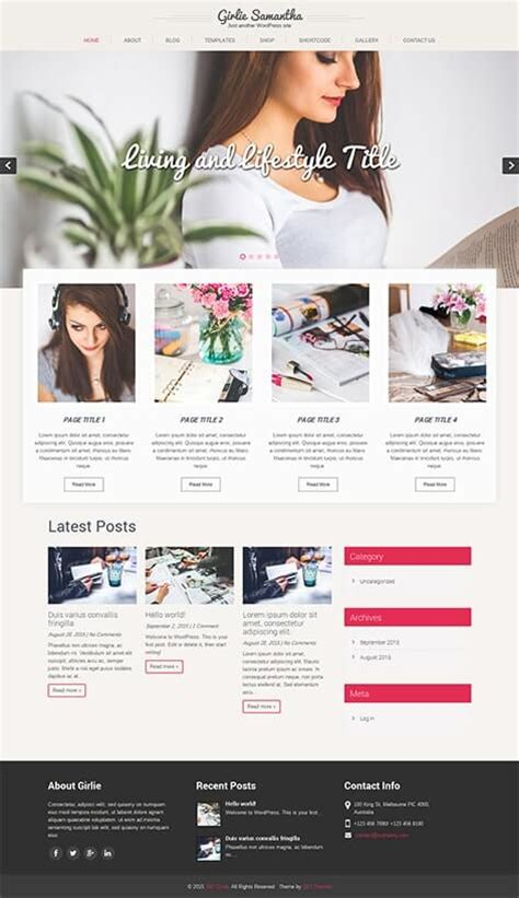 wordpress themes girly free girly wordpress theme skt themes