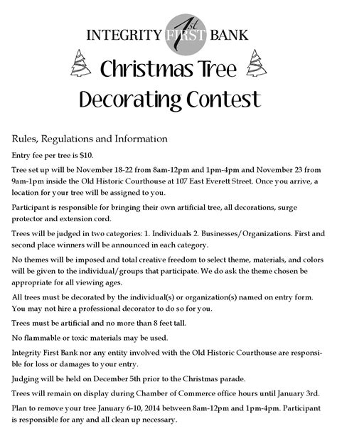decorating rules christmas tree decorating contest deadline nov 18th