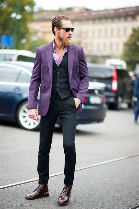 masculine purple justin o shea wearing violet blazer black waistcoat
