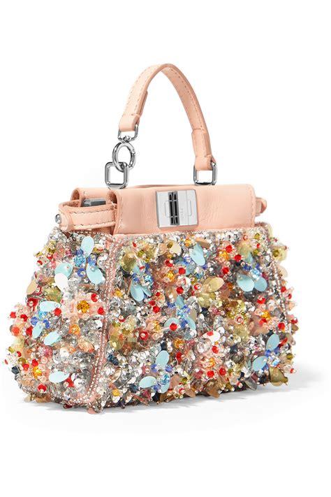 Fendi Embellished Bag fendi peekaboo micro embellished satin twill shoulder bag