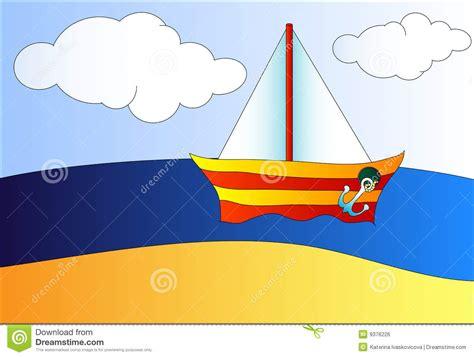 cartoon boat on the sea boat on the sea stock vector illustration of summer