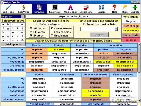 spanish word table 10 best images of printable spanish verb conjugation