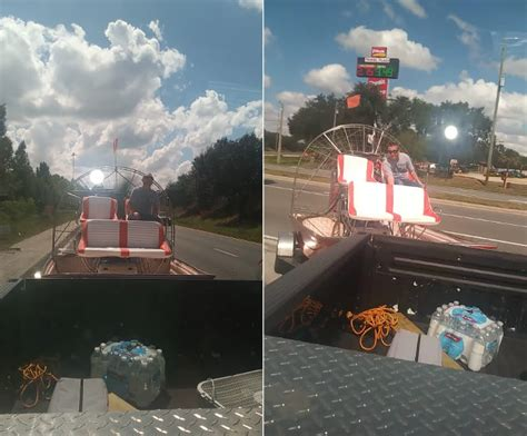 oh florida airboat pushes out of gas truck to gas - Airboat Pushes Truck
