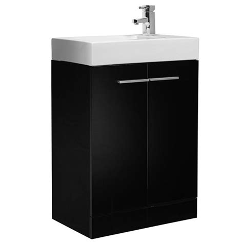 Cloakroom Vanity Unit With Basin by Tavistock 560mm Black Floorstanding Bathroom