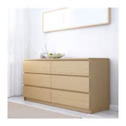 Ikea White Stained Oak Vanity Malm Chest Of 6 Drawers White Stained Oak Veneer 160x78 Cm