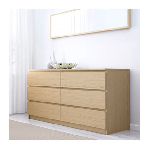 malm ikea malm chest of 6 drawers white stained oak veneer 160x78 cm