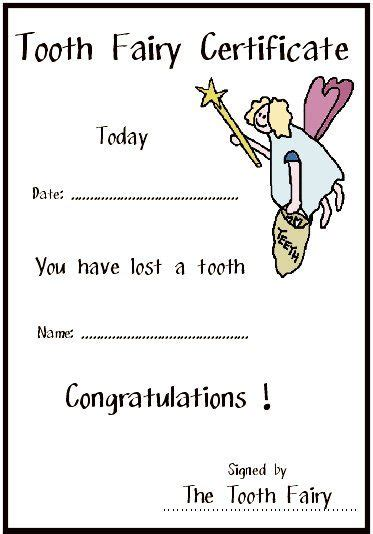 printable card from tooth fairy free tooth fairy certificate 1 jpg 373 215 534 pixels