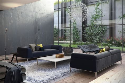 3 Gray Platform Sofas Interior Design Ideas Living Room With Grey Sofa