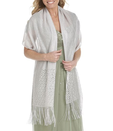 Modern Set 3in1 Dress Jaket Pashmina cejon metallic crocheted fringe metallic evening wrap dillards