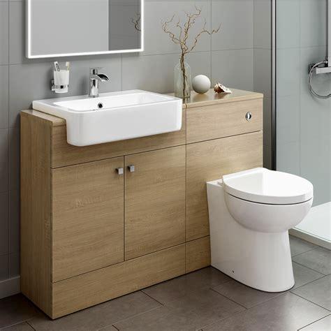 Bathroom Sink And Toilet Vanity Unit Bathroom Toilet Oak Vanity Unit Sink Basin Storage Furniture 1160mm Mv2009 Ebay
