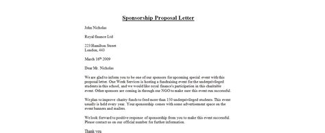 Charity Proposal Letter Sponsorship Proposal Letter Business Letter Examples
