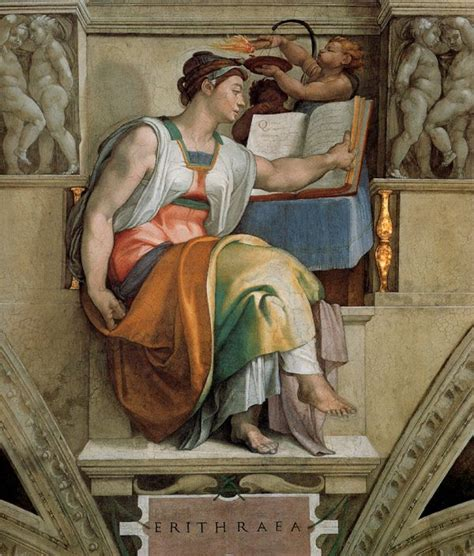 Michelangelo Ceiling Of The Sistine Chapel by Michelangelo Sistine Chapel Ceiling Sibyl Erithraea
