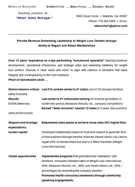 Store Manager Resume Sles by Retail Management Resume Sles 28 Images Retail Sales Associate Resume Sle Writing Guide Rg