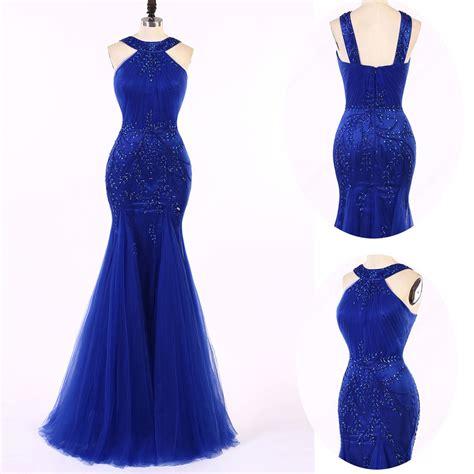 Blue Mermaid Dress straps beading royal blue mermaid prom dress