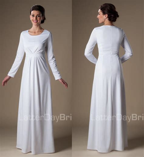 Promo Basic White lds wedding dresses mormon wedding gowns temple approved
