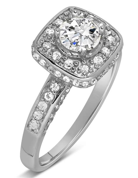 unique 1 carat halo engagement ring in white