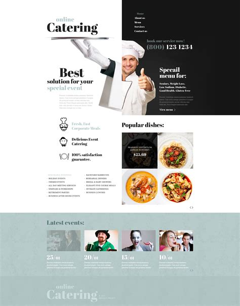 templates for catering website catering responsive website template 53579