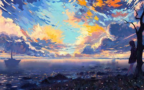 anime landscape sea ships colorful