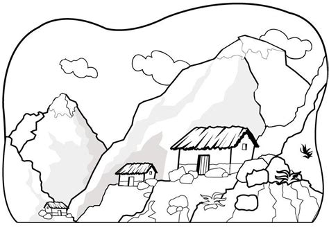 printable mountain coloring page coloringpagebook com