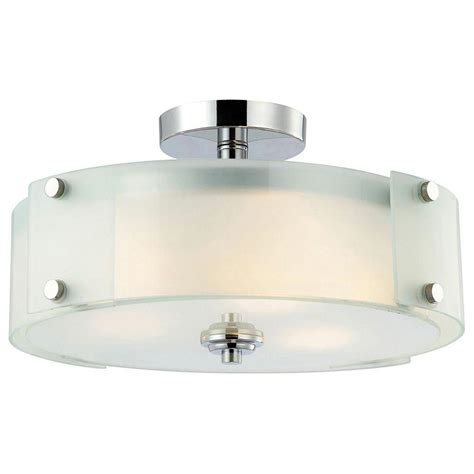 Semi Flush Lights by Canarm Scope 3 Light Chrome Semi Flush Mount Light With Frosted Glass Ifm315b15ch Hd The Home
