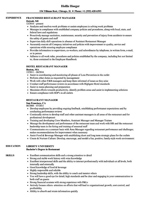 Restaurant Manager Resume by Restaurant Manager Resume Sles Velvet
