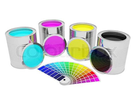 pantone paint cans cans with cmyk color paint and pantone isolated over