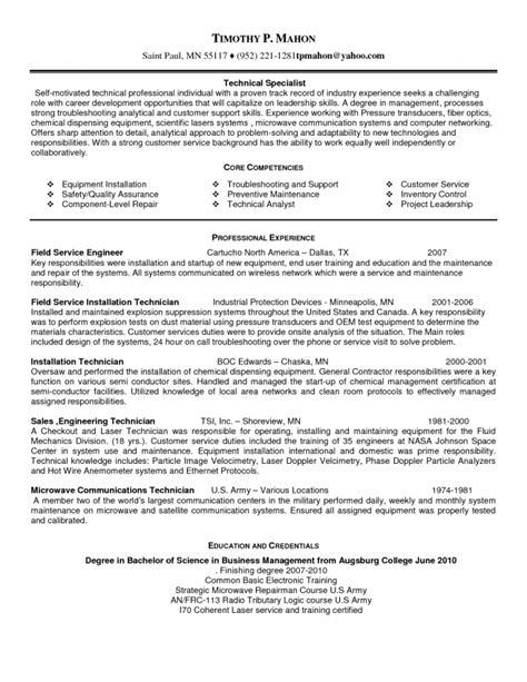 field service resume resume sle service engineer resume