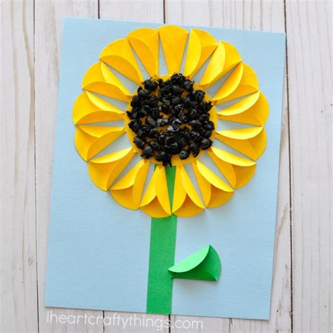 Sunflower Paper Craft - folded paper sunflower craft i crafty things