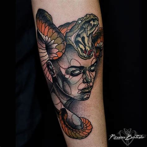 modern style colored forearm tattoo of mysterious woman