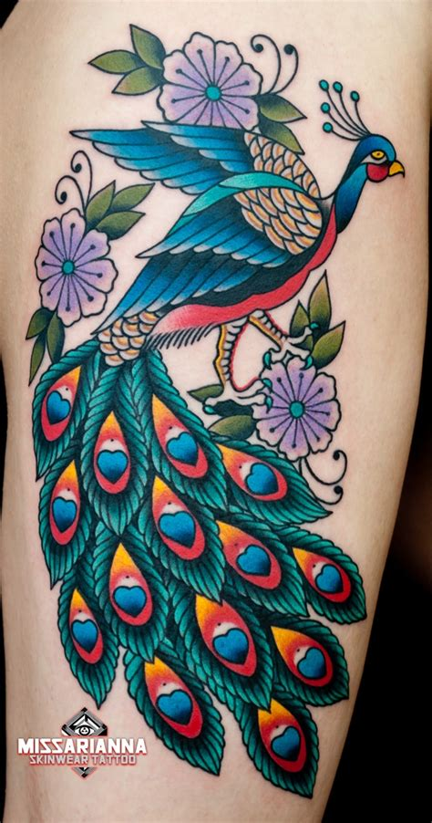 traditional peacock tattoo some quality by miss arianna