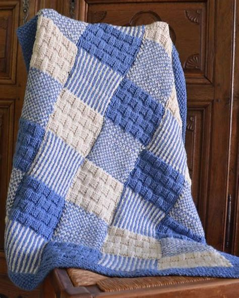 Knitted Patchwork Throw Pattern - free knitting pattern for patchwork baby blanket crochet