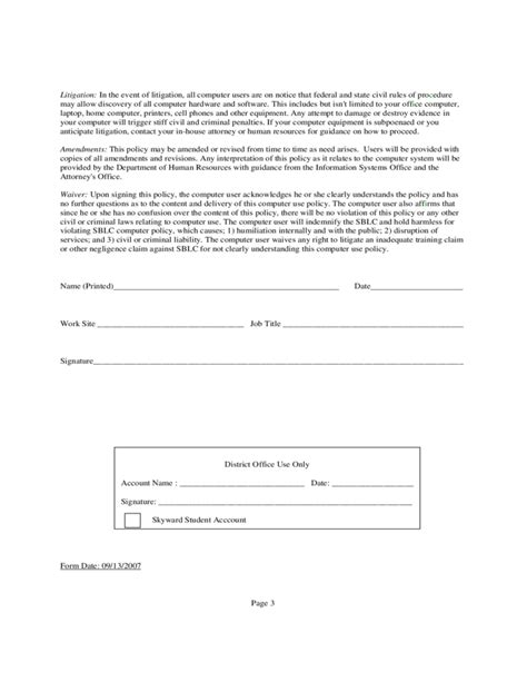sle email policy template free download
