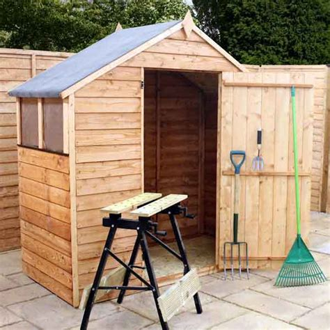 4x6 Wood Shed 4x6 Garden Shed Single Door Apex Wooden Sheds Overlap Clad