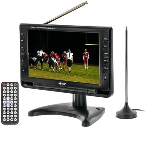 Led Tv Portable 7 Inchi Stereo Berkualitas axess tv1703 9 9 inch lcd tv features atsc tuner rechargeable battery usb sd