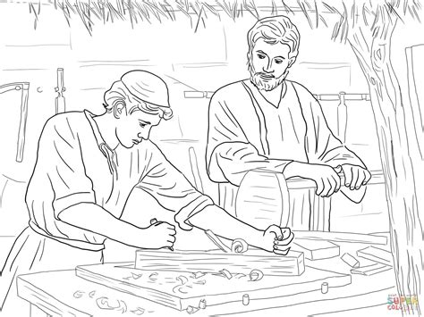 jesus christ the son of a carpenter coloring page free