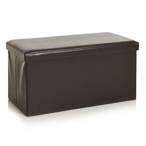 brown faux leather ottoman wilko faux leather storage ottoman brown at wilko com