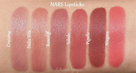Nars Lipstick Pigalle makeupbyjoyce swatches comparisons by terry terrybly and nars sheer satin semi