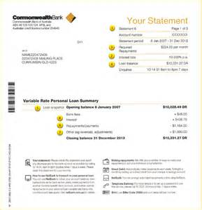personal loans statement information commbank