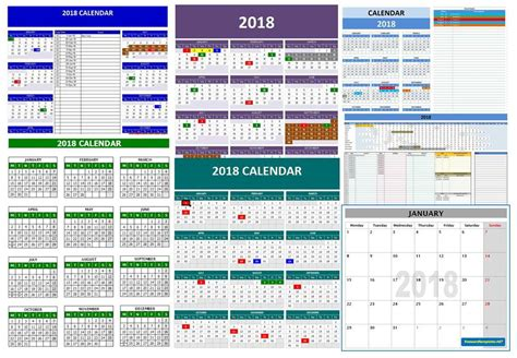 2018 calendar templates microsoft and open office templates