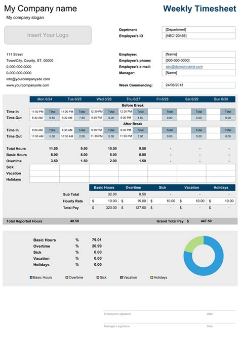 non union time card template xlsx timesheet with breaks free time sheet for excel
