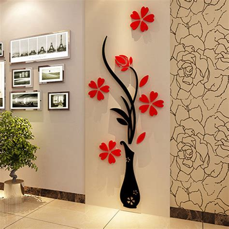 beautiful 3d flower diy mirror wall decals stickers