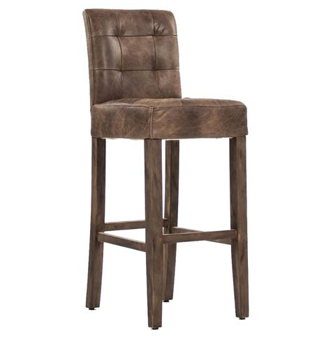 Rustic Leather Bar Stools by Sigmund Rustic Lodge Tufted Brown Leather Bar Stool
