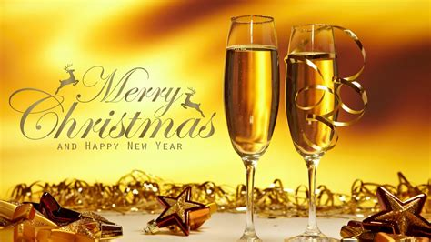 merry christmas happy  years  glasses  champagne gold star hd wallpaper  mobile