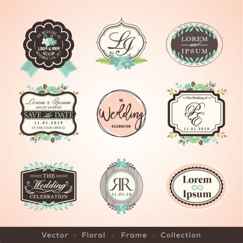 imagenes retro vector vintage wedding badges vector free download