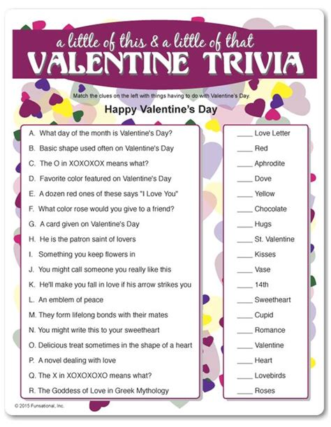 printable quiz for the elderly printable valentine trivia a little of this a little