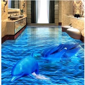 Dolphin Wallpaper For Bathroom 3d pvc floor wallpaper dolphin sea world 3d bathroom
