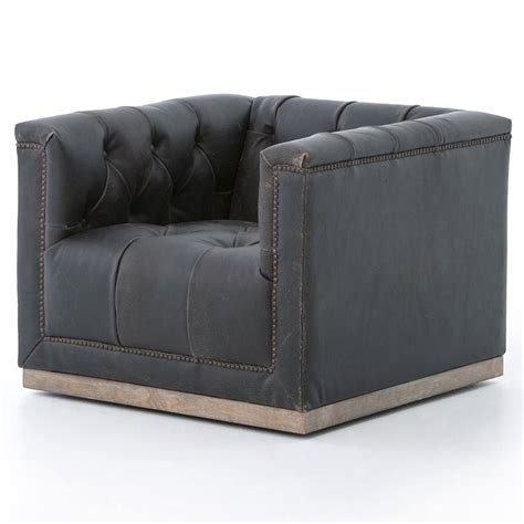 Cube Armchair by Emmy Rustic Lodge Black Leather Tufted Cube Armchair