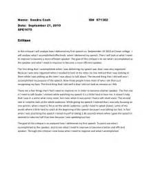 Self Analysis Essay Speech by Self Perception Speech Critique