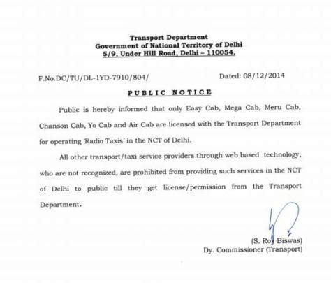 Permission Letter Uber Uber Ola Taxi4sure And Taxipixi Banned In Ncr