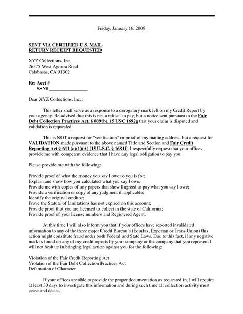 validation of debt letter template debt validation letter letters free sle letters